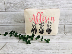 Pineapple Bag - Gift for Best Friend - Best Friend Birthday Gift - Gift for Friend - Gift for her - Pineapple Makeup Bag - Personalized Gift