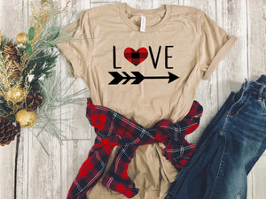 buffalo plaid tee - buffalo plaid valentines day shirt - buffalo plaid heart shirt - valentines day gift - gift for her - womens graphic tee