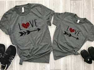 mom and daughter shirt - mommy and me valentines shirt - Matching valentines shirt - buffalo plaid heart shirt - mommy and me