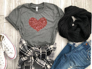 rose gold heart shirt - valentines day heart shirt - rose gold glitter heart shirt - heart shirt - valentines day gift - gift for her