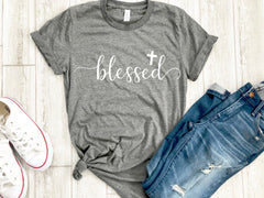 Womens blessed shirt -  blessed tshirt - Cross tee - Womens Christian apparel - Womens Christian shirt - Easter shirt - Womens Easter shirt
