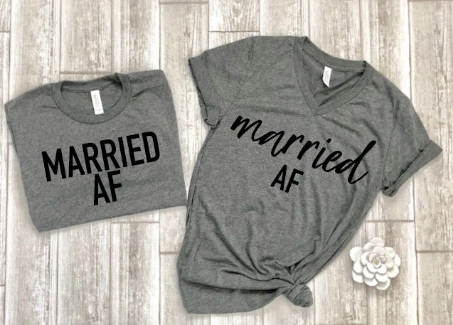 married AF shirts - wifey hubby shirts - honeymoon shirts - wifey t-shirt set - couples shirts - bride shirts - groom shirts free shipping