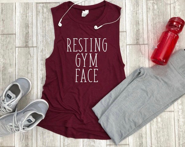 Gym tank, Resting gym face, tank, Women's gym tank, trendy gym tank, cute exercise tank, gym clothes, gym shirt, running tank, cross fit tee