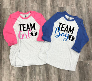 gender reveal shirts- team girl shirt - team boy shirt - its a girl shirt - its a boy shirt - gender reveal idea - gender reveal tees