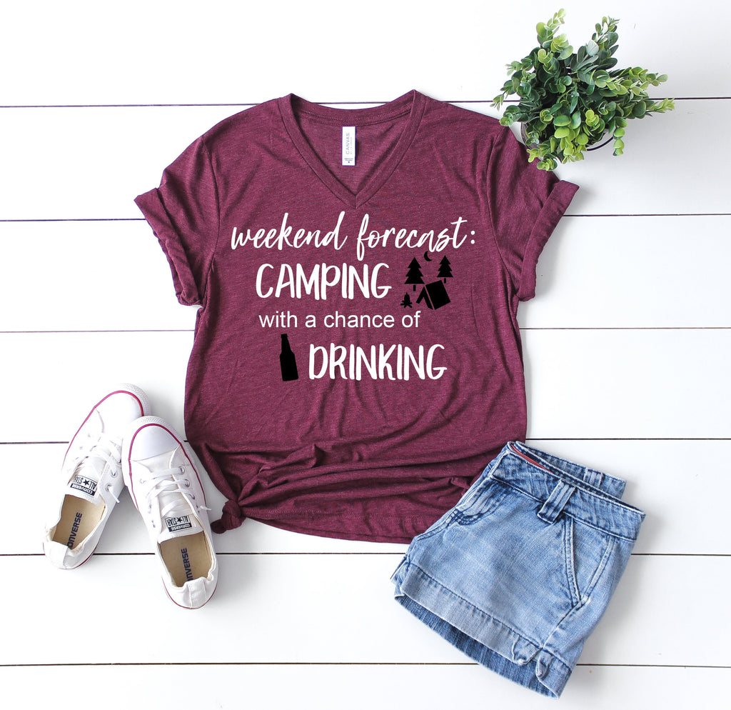Camping shirt, camping with a chance of drinking shirt, funny camping shirt, happy camper shirt, camping tee, womens camping shirt