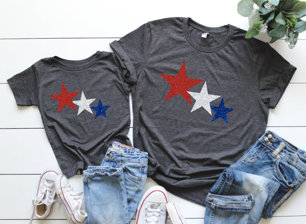 fourth of July kids, fourth of july shirts, glitter star shirts, fourth of July matching tees, patriotic mommy and me tees, memorial day tee