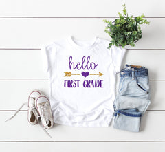 first grade shirt, hello first grade shirt, first day of school shirt, 1st grade tee, announcement first grade tee, first grade tee