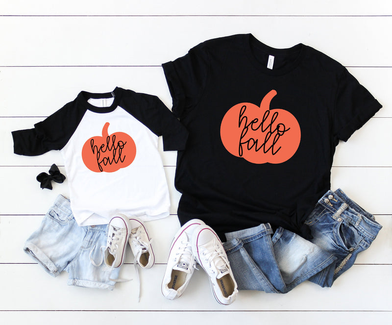 matching fall shirt, hello fall shirt, pumpkin shirt kids, matching pumpkin shirts, halloween matching tees, pumpkin mommy and me tees