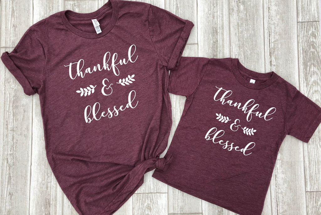 Cute fall shirts, Mommy and me fall shirts, Thankful and blessed, Thanksgiving matching shirts, mommy and me shirts, cute religious tees