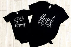 Blessed mama little blessing set, Blessed mama and mamas blessing, Little blessing shirt, Mommy and me outfits girl, new mom and baby set