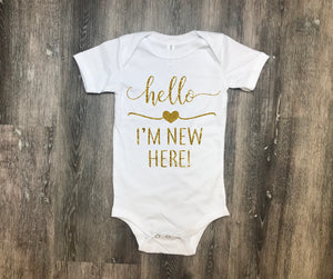 hello I'm new here, baby shower gift, new baby gift, newborn gift, baby gift, infant gift, gift for new mom, baby coming home outfit, gift
