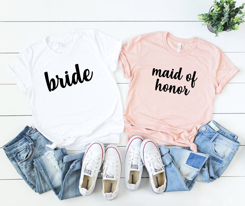 bridal party shirts - made of honor shirt -  bride shirt - bridal shirts - bridesmaid shirts - bridal party gift - bachelorette party shirts