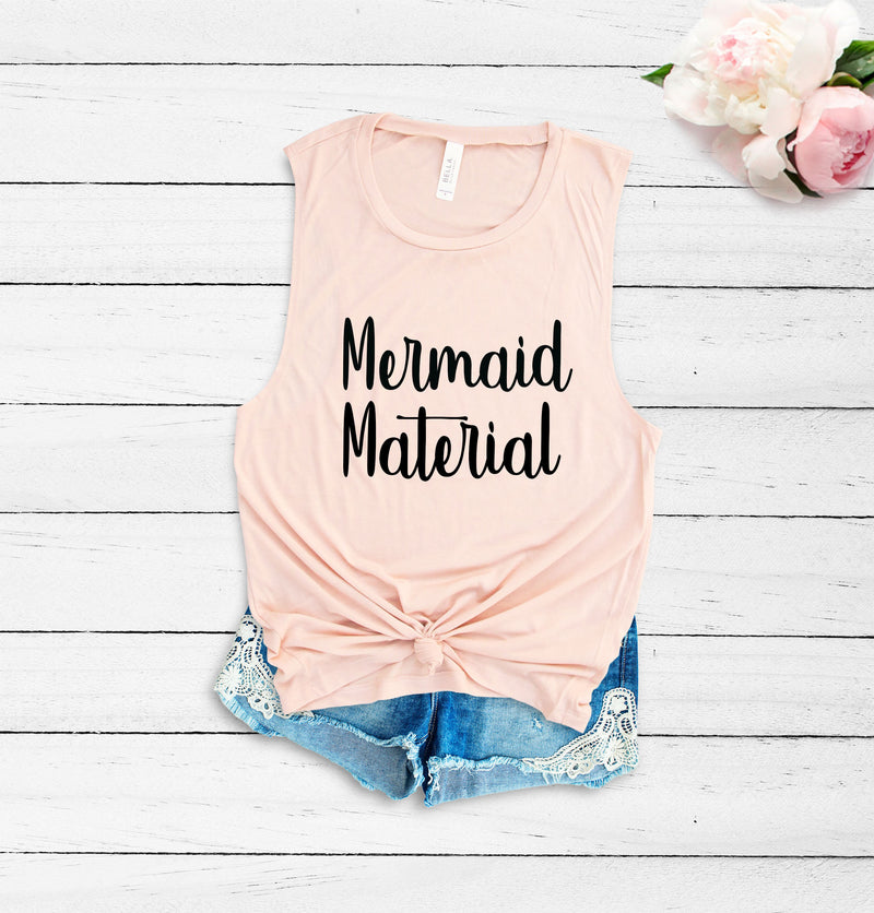 Mermaid tank, cute women's tank, cute women's tee, Mermaid tee, beach tank, vacation tank, cute women's tank, peach tank