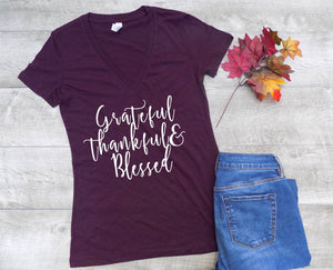 Thankful shirt, fall shirt women, fall t shirt women, v-neck, fall tee, cute fall shirt, womens fall tee, blessed tee, grateful tee