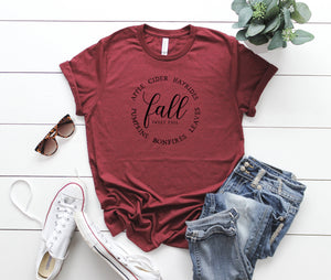 Fall outfit, fall shirt, women't cute tee, fall colors shirt, hello fall shirt, autumn colors shirt, cute autumn outfit