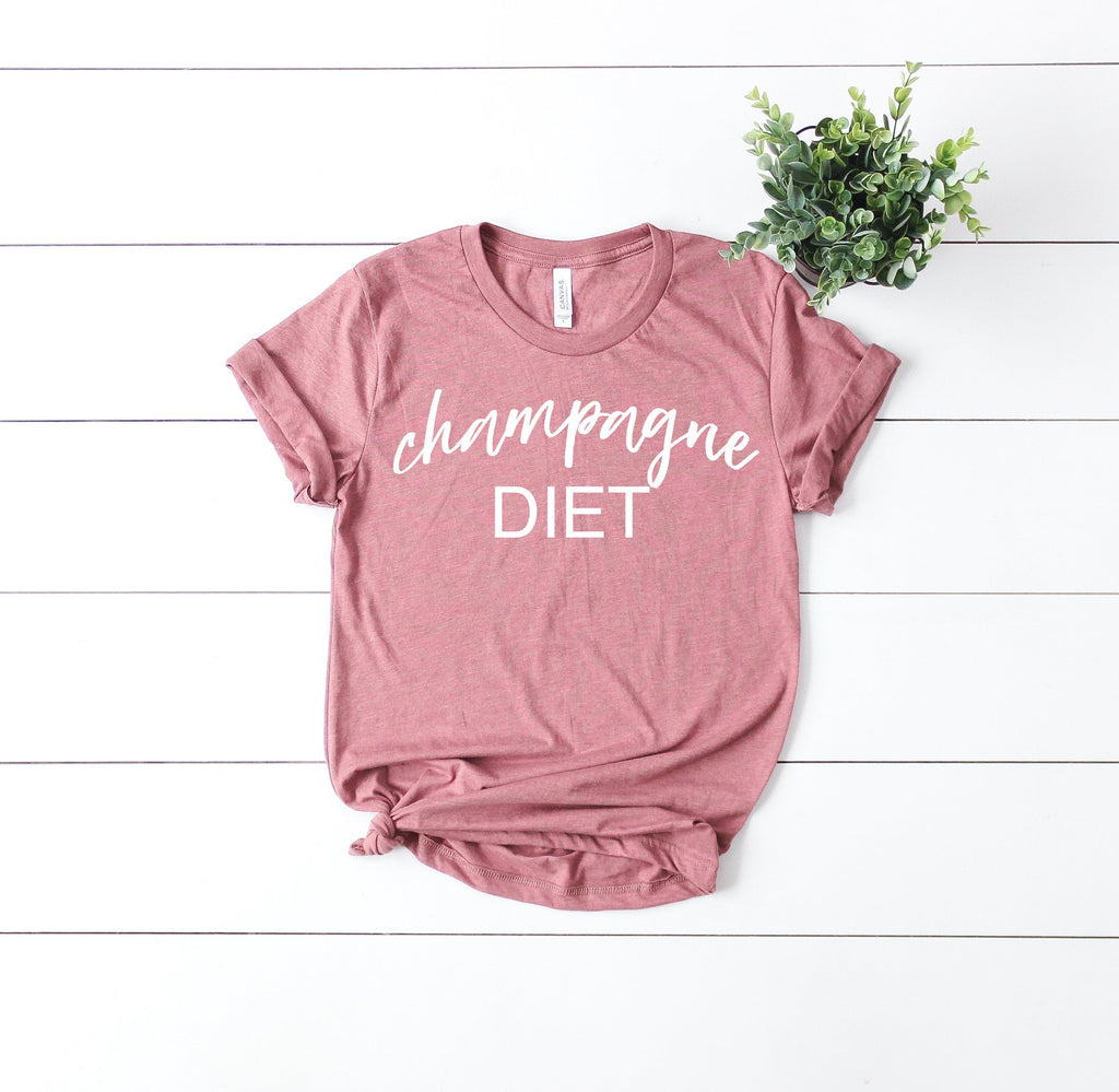 Cute women's tee, Brunch tee, Champagne diet, mimosa tee, Sunday tee, funny brunch shirt, brunch shirt, mimosa tee, Sunday brunch t-shirt