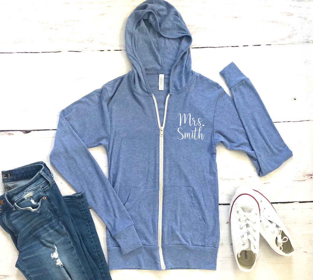 Bridal shower gift idea, something blue for bride, future mrs. sweat shirt, custom women's hoodie, fall zip up, gift idea for bride