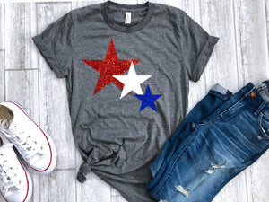4th of July womens shirt, star glitter shirt, Glitter 4th of July shirt,  fourth shirt, patriotic shirt, 4th of July tee, fourth of July