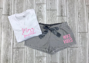 wife vibes, future mrs tee, custom bridal gift set, bride sleepwear, wedding gift, gift for bride, future mrs, bride vibes, bride gift