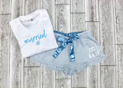 honeymoon pajamas, personalized bride gift, something blue bride, custom bridal gift set, wedding party gift, gift for bride, married af,