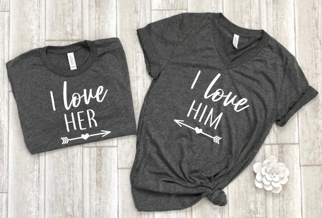love her love him shirts, couples shirts, newlywed shirts, wedding shirts, honeymoon shirts, his and hers shirts, bridal shower gift