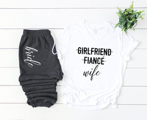 bride tshirt, I said yes, bridal gift set, gift set for bride, just engaged gift set, bride sweatpants, future mrs shirt, girlfriend fiance