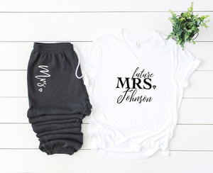 bride tshirt, mrs shirt, I said yes, bridal gift set, gift set for bride, just engaged gift set, bride sweatpants, future mrs shirt