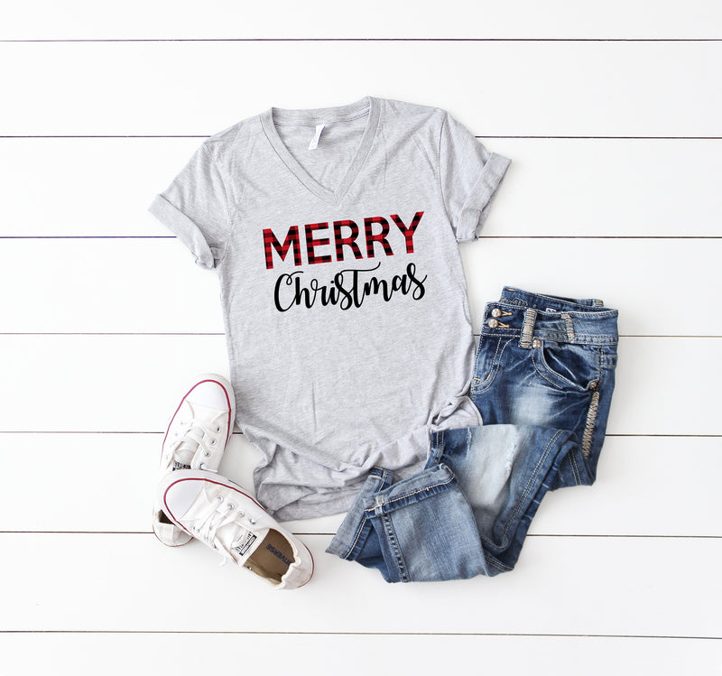 Christmas t-shirt,Buffalo plaid t-shirt, Christmas party shirt,Women's Christmas shirt,Women's Christmas top, Women's holiday tee, Xmas tee