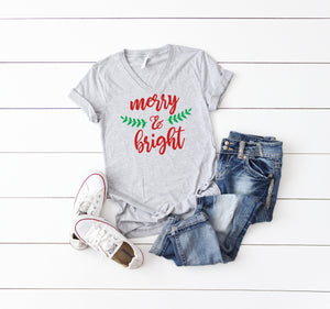 Merry and bright, Women's Christmas t-shirt, Christmas party shirt, Women's Christmas shirt, Women's Christmas top, Women's holiday tee,
