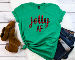 Jolly af shirt, Buffalo plaid t-shirt, Buffalo Plaid Holiday tee, Cute Women's Christmas shirt, Christmas party shirt, Women's Christmas top