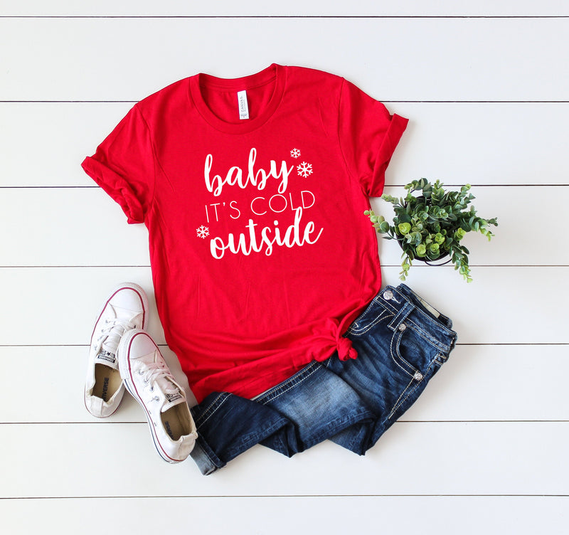 Baby its cold outside shirt, Christmas party shirt, Christmas shirt, Cute Women's Christmas shirt,Women's Christmas top,Xmas shirt