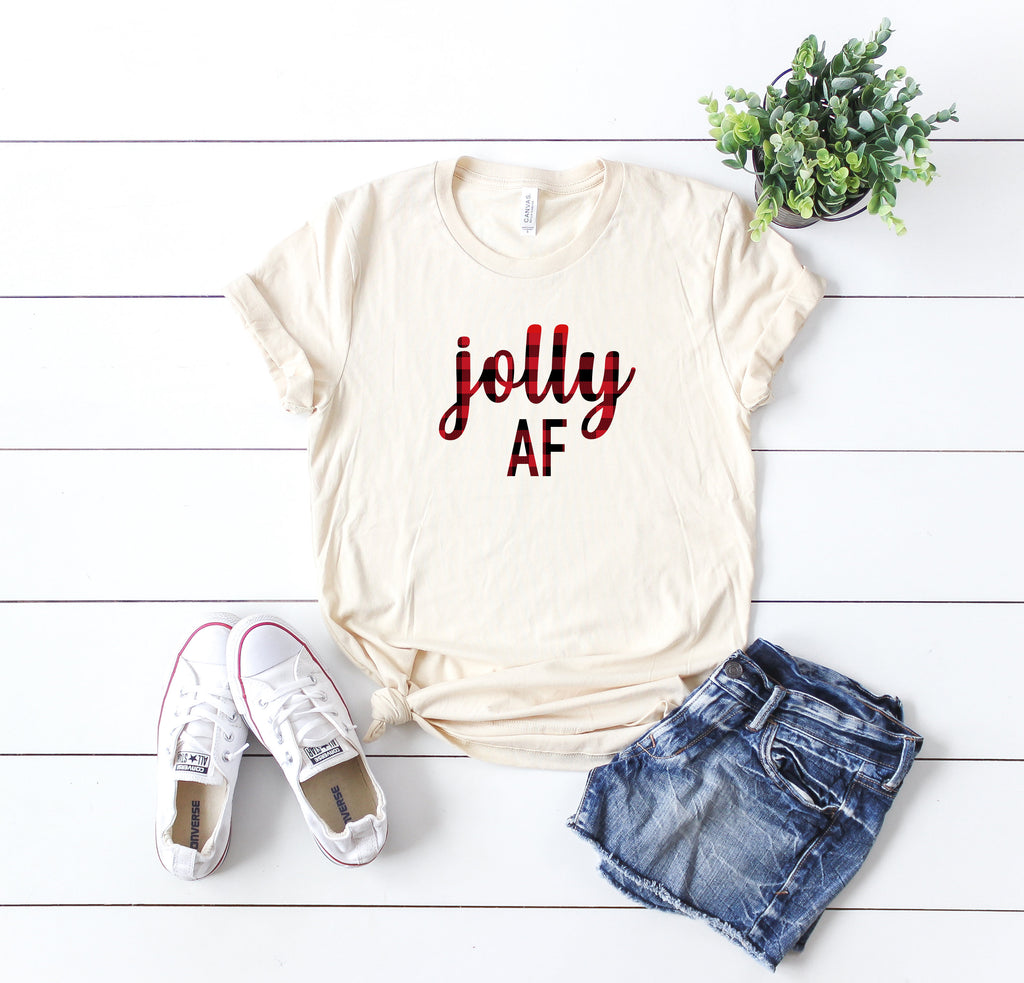 Jolly af shirt, Buffalo plaid tee, Christmas T-shirt, Christmas party shirt, Cute Women's Christmas shirt,Women's Christmas top, Holiday tee