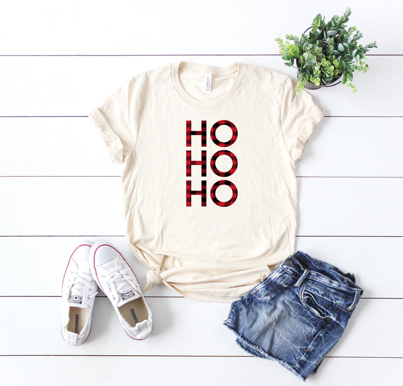 Funny Christmas shirt, Ho ho ho shirt,Buffalo plaid tee,Christmas party shirt,Cute Women's Christmas shirt,Women's Christmas top,Holiday tee