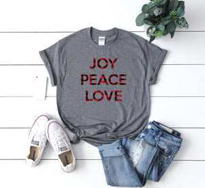Christmas Buffalo plaid t-shirt, Buffalo plaid xmas top,joy peace love t-shirt,Christmas party shirt,Women's Christmas shirt,Christmas top