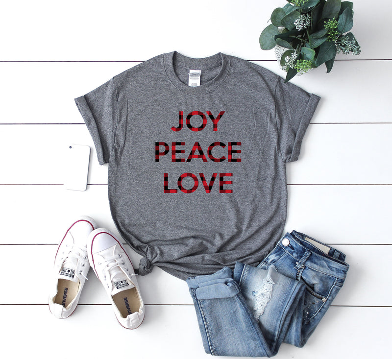 Buffalo plaid t-shirt, Buffalo plaid xmas top, Christmas joy peace love t-shirt,Christmas party shirt,Women's Christmas shirt,Christmas top