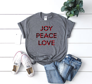 Xmas buffalo plaid t-shirt,joy peace love tee,Buffalo plaid tee,Christmas party shirt,Cute Women's Christmas shirt,Christmas top,Holiday tee