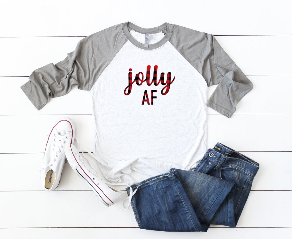 Cute Buffalo plaid shirt, jolly af shirt,Cute holiday tee, Christmas party shirt,Women's Christmas shirt,Christmas top,Cute holiday t-shirt