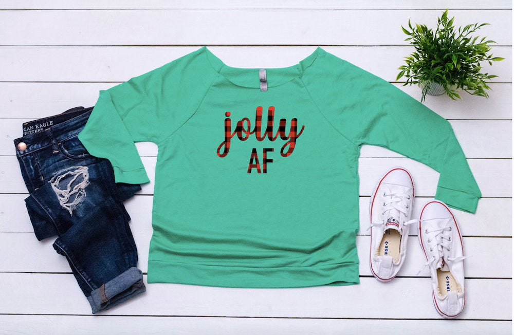 Jolly af top, Christmas Buffalo plaid top, Women's holiday top, Merry sweater, Cute Christmas top ,Cute holiday t-shirt,Women's xmas shirt