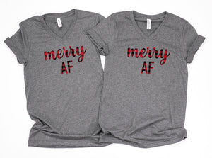 Buffalo plaid shirts, Merry af couple shirts, Cute buffalo plaid tops,Holiday shirts,Holiday couple shirts,Holiday shirts,Christmas shirts