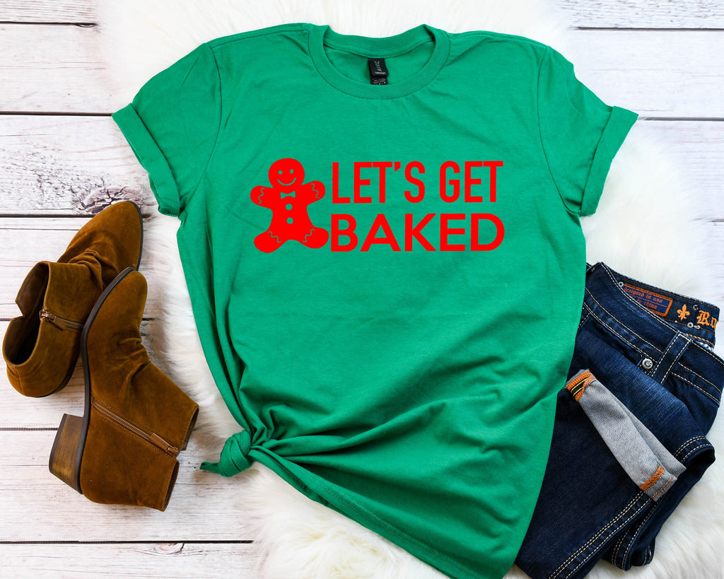 lets get baked tee, funny holiday shirt, Christmas party shirt,Cute Women's Christmas shirt,Women's Christmas top,Xmas shirt,Holiday t-shirt