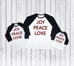 Christmas Buffalo plaid t-shirts, Matching Mommy and me Christmas shirts, Joy peace love, Holiday shirts,Merry shirts,Xmas matching outfit,