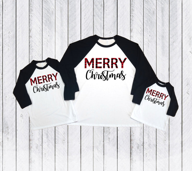 Buffalo plaid Christmas t-shirts, Matching Mommy and me Christmas shirts, Joy peace love, Holiday shirts,Merry shirts,Xmas matching outfit,