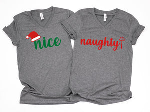 Naughty and nice couple shirts, Matching couple Christmas shirts, Couple Holiday shirts, Holiday couple shirts, Christmas couple shirts