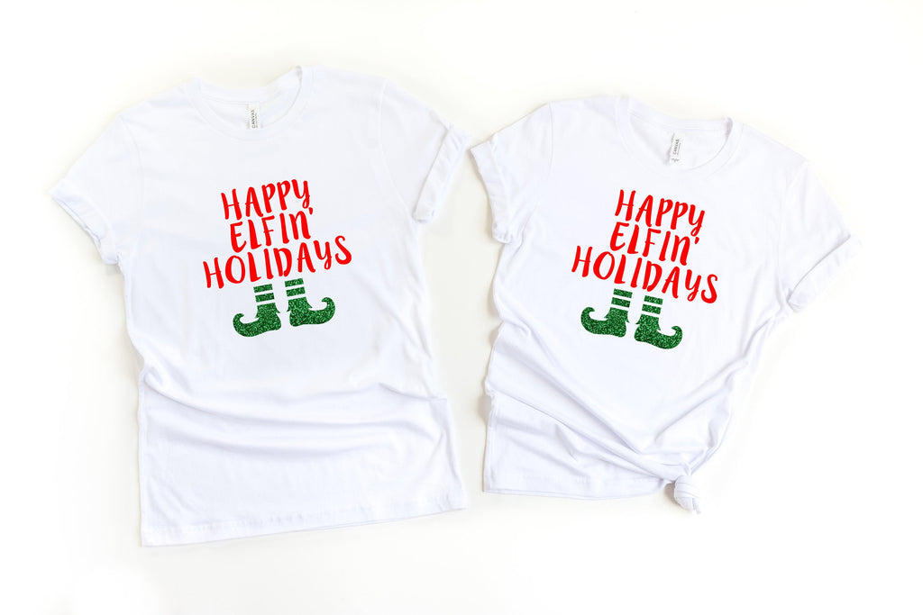 Funny elf shirts,Happy Elfin Holidays, Funny Xmas shirts,Matching Christmas shirts,Couple Holiday shirts,Holiday shirts,Christmas couple tee
