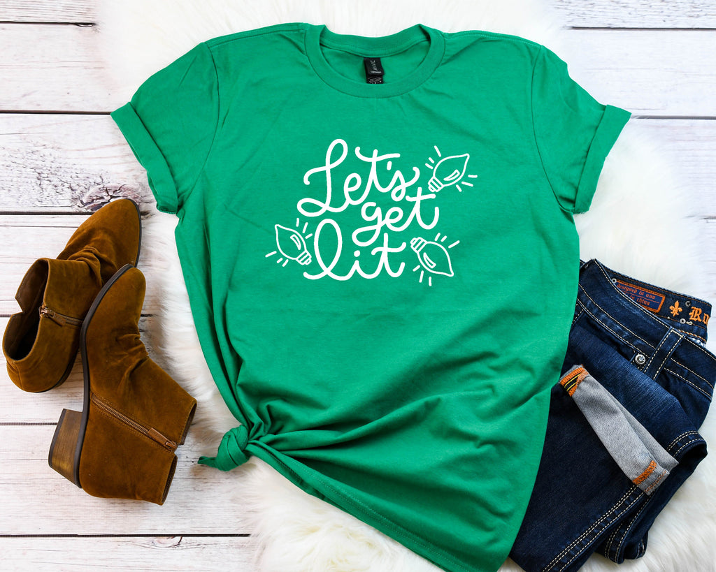 Funny Xmas tee, Lets get lit t-shirt, Women's holiday shirt,Cute winter shirt,Xmas shirt,Xmas outfit,Christmas shirt, Cute Christmas shirt,