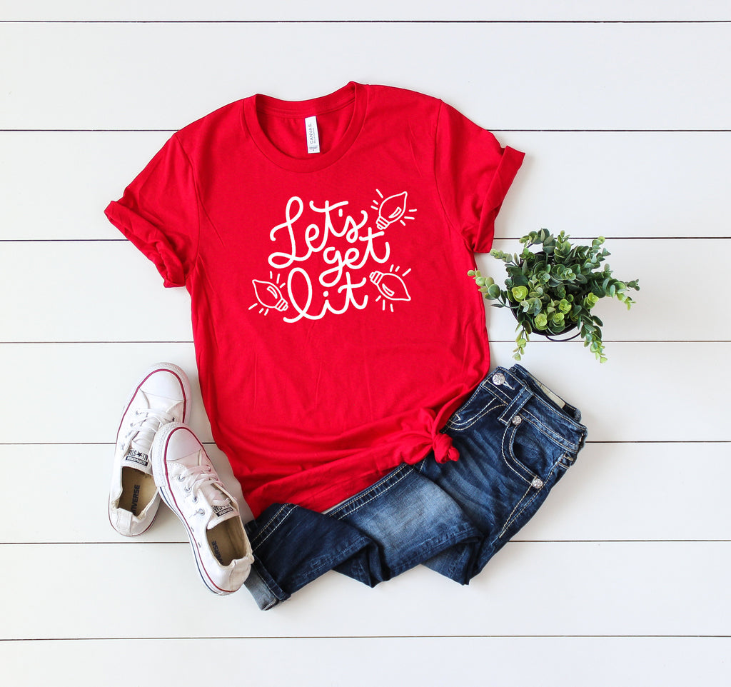 Women's holiday shirt, Funny Xmas tee, Lets get lit t-shirt, Cute winter shirt,Xmas shirt,Xmas outfit,Christmas shirt, Cute Christmas shirt,