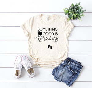 October pregnancy announcement- Pregnancy Announcement tee - Women's Halloween Shirt -Something Good is Brewing - Bumps first Halloween