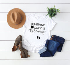 Bumps first Halloween- Pregnancy Announcement tee -October pregnancy announcement- Women's Halloween Shirt -Something Good is Brewing -