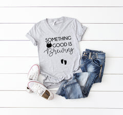 Pregnancy reveal t-shirt- Cute October pregnancy t-shirts-October pregnant tees- Something good is brewing- Halloween pregnancy t-shirt-