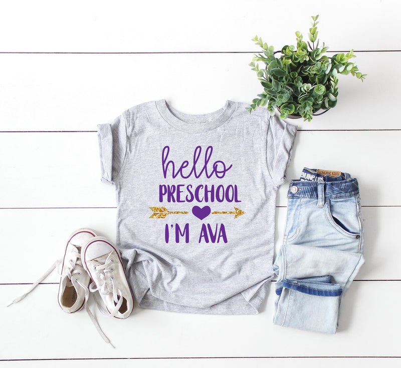 Preschool Tshirt, kids shirt, back to school shirt, preschool student, preschool shirt, customized shirt, hello preschool, unisex shirt